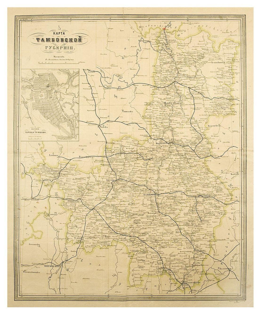 Лот 79 // карта тамбовской губернии. спб.: картографическое .
